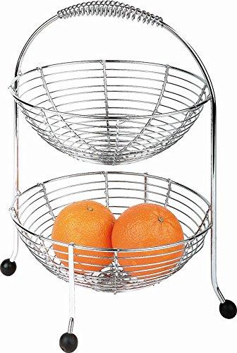APS Obst und Gemüse Etagère Ø30 cm, Höhe 35,5 cm, zweistöckig, aus verchromten Metall, mit schwarzen Antirutsch-Füßen
