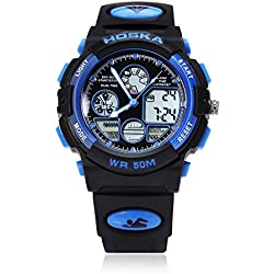 Leopard Shop HOSKA H003B Multifunctional Children Sport Watch Dual Movement Chronograph Calendar Alarm EL Backlight LED Wristwatch Water Resistance Blue Black