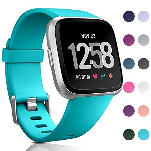 HUMENN Für Fitbit Versa Armband, Classic Weiches TPU Sports Ersetzerband Verstellbares Zubehör Uhrenarmband für Fitbit Versa Smartwatch Klein Teal