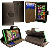Gr8 value Nokia 630 and 635 Pu Luxury PU Leather Wallet Cover Flip book Phone Mobile case for Nokia Lumia 630 and Nokia 635 book Cover (Black Book Case)