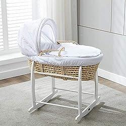Mcc® Moisés cesta para Bebé recién nacido cesta en Palma natural con sábanas blancas en 100% algodón Waffle y colchón (color blanco)