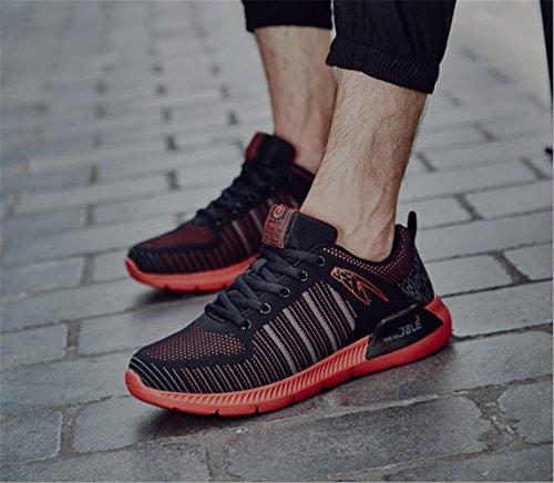 Hooh Léger Choc Absorption Sport Chaussures Les Casual Basse Mens Running Chaussures De Sport D'hiver Rouge