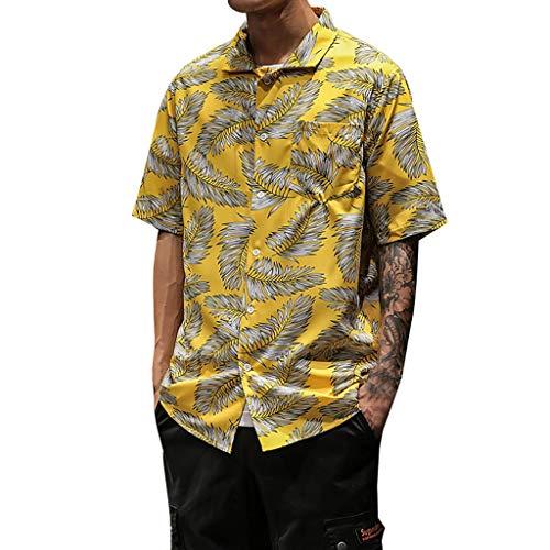 Yvelands Herren Oberteile Sommer Hawaii Hemden Lässige Kurzarm Strandoberteile Lose Freizeitbluse(Gelb,XL)