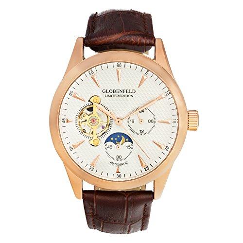 GLOBENFELD - Limited Edition - Herren Automatikuhr I Analog Uhr mit Croxley Ziffernblatt für Männer I Klassische Männeruhr mit Lederarmband I Armbanduhr - Antikrosa