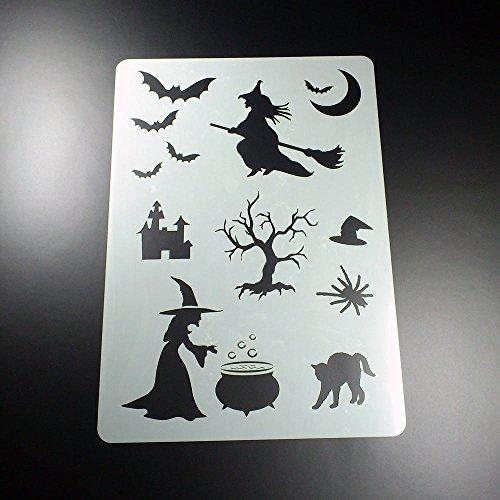 (Schablone Hexe Fledermaus Katze Halloween - BA02)