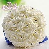 Baoblaze 50er-Set Schaumköpfe Künstliche Rose Blume Kunstblumen Brautstrauß Hochzeit Hause Dekor - Creme