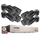 ZOSI 8 Canales CCTV Sistema de Seguridad Full HD 720P Grabador de DVR con 8 Cámaras de 1/3 CMOS 1280TVL IR-Cut Exterior, 1TB Disco Duro, 20M Visión Nocturna, 24 IR LEDs, Impermeable, Detección de Movimiento y alerta por correo