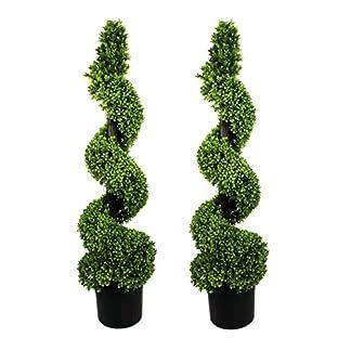 GreenBrokers 2 árboles en Espiral de Madera de boj Artificiales de 120 cm