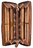 Hill Burry Echt-Leder Damen Herren Geldbörse | XXL Vintage Organizer aus hochwertigem echtem Leder - Reisebrieftasche | Portmonee Mappe – Travel Wallet | Portemannaie – Kreditkartenetui (Braun)