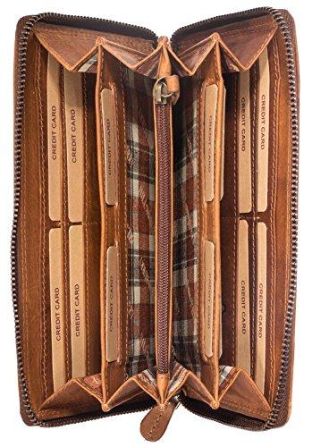 Hill Burry Echt-Leder Damen Herren Geldbörse | XXL Vintage Organizer aus hochwertigem echtem Leder - Reisebrieftasche | Portmonee Mappe – Travel Wallet | Portemannaie – Kreditkartenetui (Braun) (Zipper Leder Wallet Geldbörse)