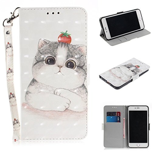 Cozy Hut iPhone 7 Plus / 8 Plus Hülle, Flip PU Leder Tasche mit Intern Karte Schlitz, Magnetic Closure mit Standfunktion und Handy Gürtel Schutzhülle für iPhone 7 Plus / 8 Plus - Nette Katze