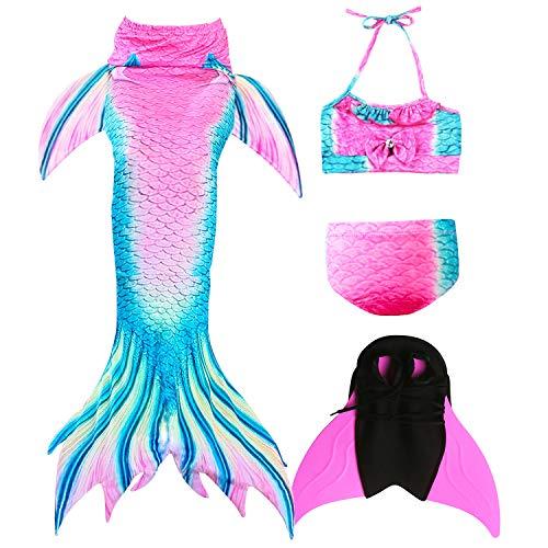 GNFUN Meerjungfrau Schwanz mit Meerjungfrau Badeanzug Schwanzflosse Zum Schwimmen Kostüm Für Kinder Mädchen Bikini Set und Monoflosse, 4 Stück Set