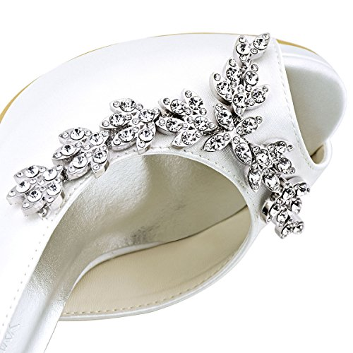 ElegantPark EP11045-IP Escarpins noeud Femme Chaussures de mariee mariage soiree AC01 Blanc