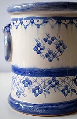 Portamestoli Porta utensili con Manici Linea Fiori Blu Realizzato a Mano - Le Ceramiche del Castello - Made in Italy