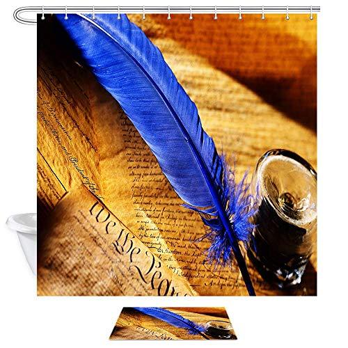 Rustikale Bad-handtuch-set (Aliyz Aquarell Pfauenfeder Duschvorhänge Blaue Feder auf Rustikale Vintage Tapete Wasserdichtes Polyestergewebe Bad Vorhang Kinder Badezimmer Dekor Sets Duschvorhänge und Teppiche 71X71in)