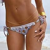 PIXNOR Sexy Bikini Spiaggia corpo Belly nappa di catena catena doppio strato vita donne (d'oro)