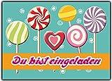 Set 12 Einladungskarten zum Kindergeburtstag Geburtstag Einladung Karten Lollies Lutscher Geburtstagseinladung Geburtstagskarte mit Text neutral Sommerfest Strand beach retro vintage teenager Kinder