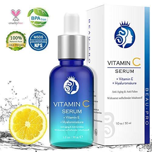Vitamin C Serum, Hochdosiert mit Hyaluronsäure von BEAU-PRO, Natürliche AntiAging+Anti Falten für Gesicht, mit 20% Vitamin C+Hyaluronsäure+Vitamin E+Arbutin, Effektiv aufhellende Inhaltsstoffe,30ml - Make-up Gesicht Zu Glühen