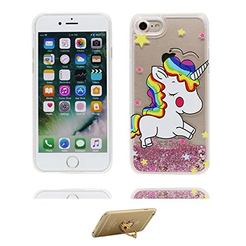 iPhone 7 Custodia, Glitter Scintillante che scorre scintillio trasparente / Case iPhone 7 copertura, Cover Shell Graffi Resistenti / unicorno unicorn Cartoon Rainbow / ring supporto Color 2