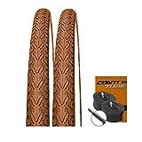 KENDA Set: 2 x K935 Braun Farbige Fahrradreifen 40-622/700x38C + Conti SCHLÄUCHE Rennradventil
