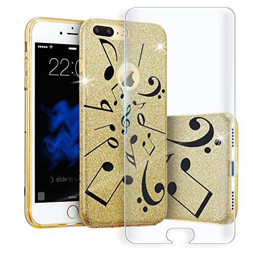 EGO ® Hülle Glitzer Schutzhülle + Panzerglas für iPhone 6 Plus 6S Plus, Silber Blume Back Case Bumper Glänzend Transparente TPU Bling Weiche Glamour Handy Cover Note Gold + Glas