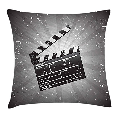 Pillow Cushion Cover, Clapper Board on Retro Backdrop with Grunge Effect Director Cut Scene, Decorative Square Accent Pillow Case, 18 X 18 Inches, Grey Black White ()