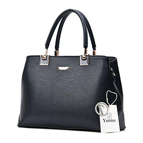 Yoome Lichee Pattern Top Handle Handbags Grande Borse Elegante per Donne Portafogli Donna Portafogli - Nero Nero