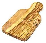 Lashuma Premium Früchstücksbrett | Schneidebrett mit Griff | 100% Olivenholz | edle Handmade extra Dickes Holzbrett 22 x 11 x 1,8 cm