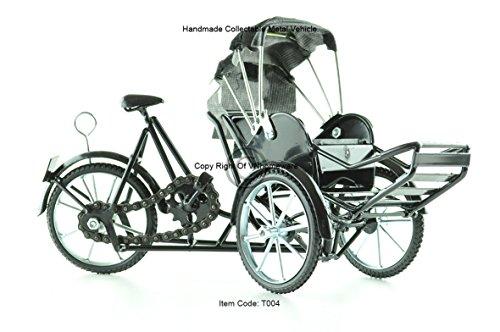 Xich-Lo Bicicleta de 3 ruedas, modelo de metal, hecho a mano, color negro, T004