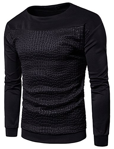 Bomber Classic Hut (Whatlees Unisex langärmliges T-shirt mit 3D paisley bandana muster Reisverschluss Design Krokodilleder muster Reisverschluss Design floral pflanz Reisverschluss Design B895-02-XL)