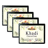 Khadi Activated Charcoal Soap Skin Whitening Anti Acne Soap, 125gm (Pack of 4)