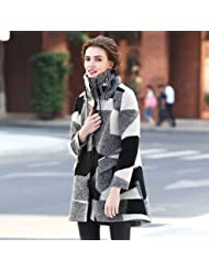YRF Manteau de laine d'hiver. Col haut Plaid trench-coat. Manteau long. Manteaux dames
