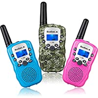 Bobela 3 Pack Walkie Talkie Kids,8 Channels 2 Way Radio for Girls and Boys Gifts with Backlit LCD Screen Flashlight,Easy to Use Walky Talky 3KM Long Range for Camping,Hiking,Outdoor Adventures