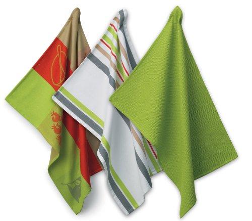 kela 390130 Geschirrtuch-Set, 3-tlg, Gewebt, 100% Baumwolle, 50 x 70 cm, Amalie, Grün