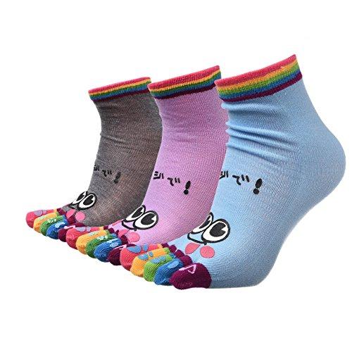 3 Paar Funky Bunten Hellen Spaß Zehe Socken Sport Laufen Fünf Finger Socken (Zehen Spa)