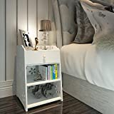 Naerde moderne Simple Nightstand Armoire de rangement, Blanc Sculpté …