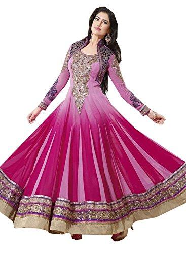 Divyaemporio Womens Faux Georgette Resham Anarkali Dress Material (De-5079 _Pink _Free Size)