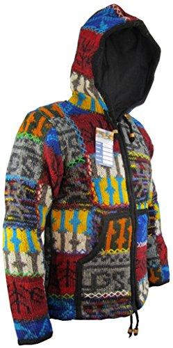 Little Kathmandu Herren Doppelt Gestrickt Naturwoll Patchwork Stich Warm Winter Jacken Kapuzenpullover Hoodie Bright Patch
