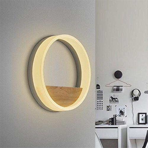 Dekorative Eitelkeit Leuchte (NOHOPE Moderne Massivholz Runde Dual-Use warmes Licht Wandleuchte (kleines Regal) für Schlafzimmer, Bett, im Gang und Home Decor Wall Leuchte,40cm)