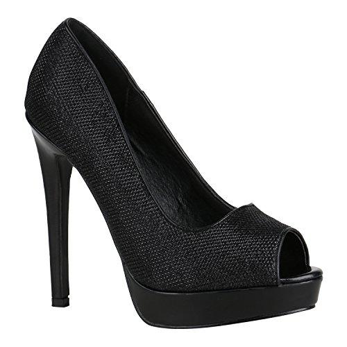 Damen Schuhe Pumps Spitze High Heels Peep-Toes Stiletto 155880 Schwarz Glitzer 39 Flandell (High-heels Peep-toe-pump)