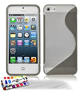 """ORIGINAL MUZZANO Grey """"Le S"""" Hybrid Shell for APPLE IPHONE 5 + 3 """"UltraClear"""" Screen Protective Films for APPLE IPHONE 5"""