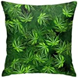 Arrowss Elegant Indica Leaves Dark Throw Pillow Covers -Square Pillowcases Home Decorative for Sofa Bedroom Car 18 X 18 Inch