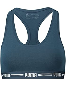 Puma Iconic Racer Back Bra 1P Ropa Interior, Mujer, Azul Oscuro, Extra-Large