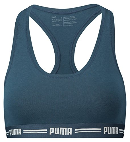 Puma Damen Iconic Racer Back Bra 1P Unterwäsche, Dark Denim, XS (Dark Denim Schuhe)