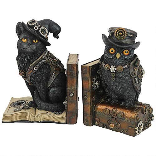 Design Toscano Science Seekers Steampunk-Buchstütze, Motiv Katze und Eule, 25,4 cm, volle Farbe -