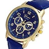 UNNSEAN Uhr,Unisex Casual Genf Kunstleder Quarz Analog Armbanduhr Uhren Runde Multifunktional Chronograph Mode Klassisch Beiläufig Armbanduhren (Blau)