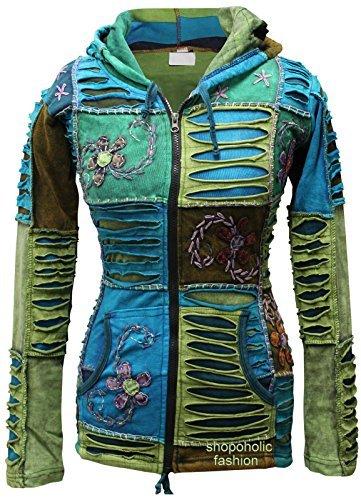 mélange bleu fleur broderie Pixie à capuchon RASOIR COUPE Hippie Ethnique Pull à capuche BOHO veste - Bleu, Bleu, Medium