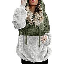 Sudaderas Capucha para Mujer, BBestseller Suéter de Doble Capa de Lana Polar Top Cardigan Tejido