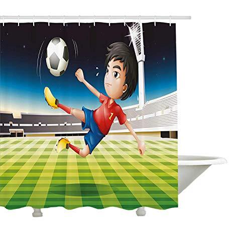 Yeuss Kids Duschvorhang, Junge spielt Fußball im Stadion Athlet Sport Soccer Championship Graphic, Stoff Badezimmer Dekor Set mit Haken, Multicolor - Für Badezimmer-sets Jungen Kid