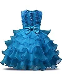 NNJXD Falda de Chicas con Volante de Encaje Vestidos de Boda y Fiesta